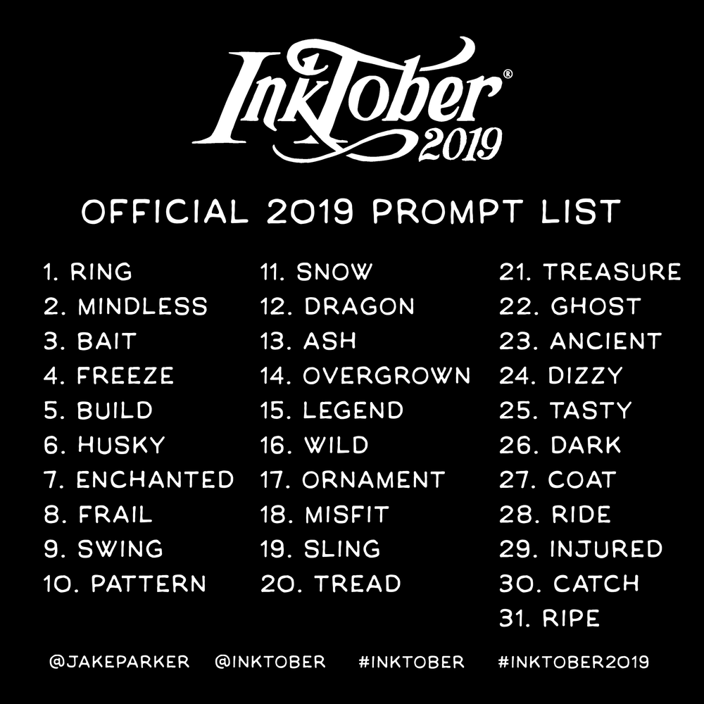 inktober 2019 prompt list